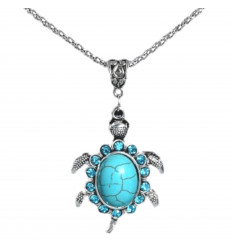 Collana della boemia con ciondolo Tartaruga turchese. Spedizione gratuita !