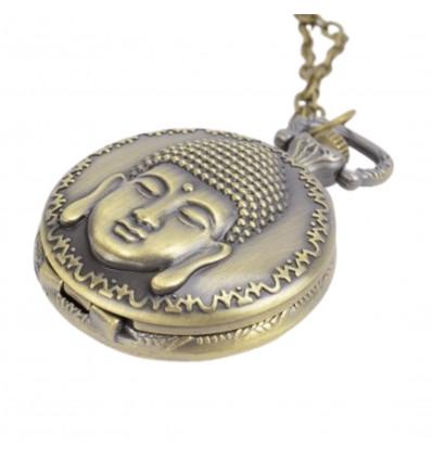 Collana lunga Collana lunga con ciondolo orologio da tasca Buddha dorato
