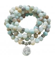 Bracelet Mala 108 beads Amazonite - Symbol tree of life