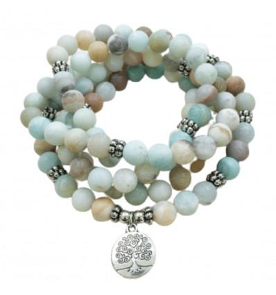 Bracciale Mala 108 perle di Amazzonite - Simbolo dell'albero della vita
