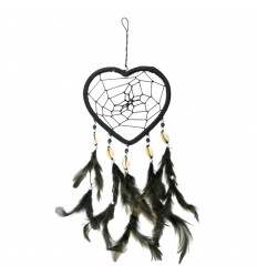 Gigante dream catcher originale forma di Cuore 30x13cm - Nero