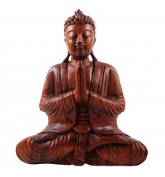 Statua di Buddha seduto con le mani giunte in legno, h30cm