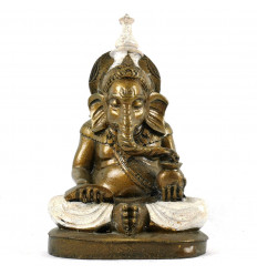 Statue Ganesh Sitting Gold and White in Handmade Resin 20cm