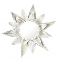 Mirror Ethnic Leaf of Coconut tree on Natural White Brushed