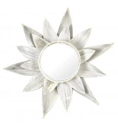 Specchio Etnico Foglia di albero di Cocco Naturale Bianco Spazzolato