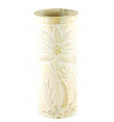 Porte-parapluie ou vase en bois 50cm décor Palmier - Coloris naturel cérusé blanc
