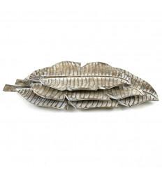 3 Plats en Forme de Feuille de Bananier Sculpté en Bois 30 à 50cm posés les uns sur les autres