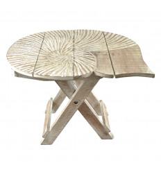 Petite Table Sellette Pliable Motif Coquillage 30cm en Bois Blanchi