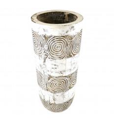 Porte-Parapluie ou Vase en Bois Sculpté et Peint Artisanalement 50cm vu du dessus