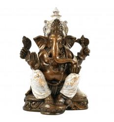Statua Ganesh seduta dorata e bianca in resina fatta a mano 25 cm