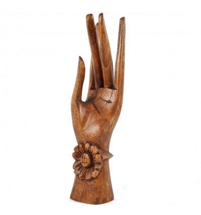 Mano di Buddha / Porta-anelli di legno esotico marrone H20cm