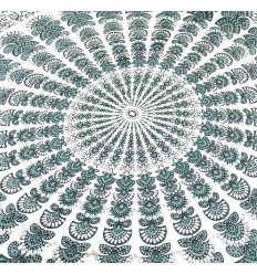 Pareo / sarong / parete appesa 170 x 115cm - Motivo Mandala grigio e bianco - paillettes d'argento
