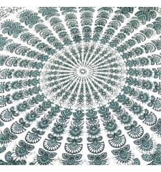Paréo / sarong / tenture murale 170 x 115cm - Motif Mandala gris et blanc + sequins argentés