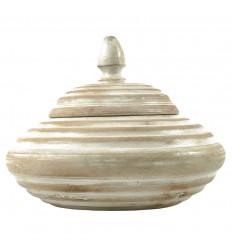 Boîte ronde en bois brut sculpté 25cm patiné blanc