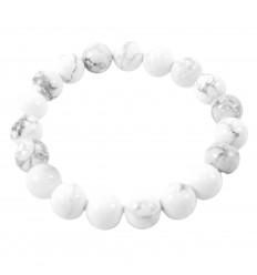 Bracelet Lithothérapie perles 10mm en Howlite naturelle -Ancrage, relaxation, méditation.