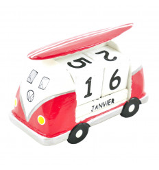 Perpetual Calendar Van Retro Vintage Combi in Red Wood 10cm