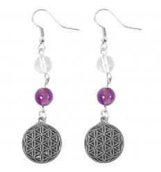 Orecchini simbolo Ìm (Aum) - argento metallizzato