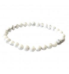 Bracelet Lithothérapie perles 6mm en Howlite naturelle -Ancrage, relaxation, méditation.