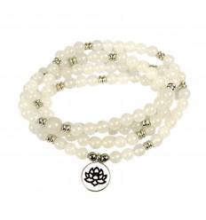 Mala tibétain 108 perles pierre de lune, porte-bonheur fertilité.