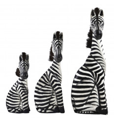 Set de 3 Statues Zèbres en Bois Déco Savane Safari Artisanat