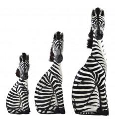 Set di 3 Statue di Legno della Zebra Deco Savannah Safari Artigianato