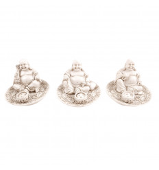 Lot of 3 doors-incense chinese Buddha resin white. Deco Zen.