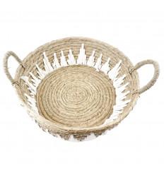 Grande vassoio rotondo in abaca e macramè ø45cm - Decorazione da tavola etnica chic