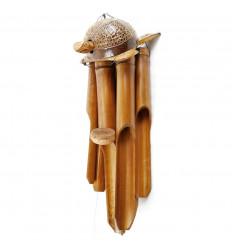 Carillon à vent intérieur ou extérieur en bambou et noix de coco Tortue