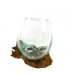 Petit Vase en Verre Soufflé sur Racine de Teck Pièce Unique