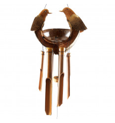 Indoor or outdoor bamboo and coconut wind chime Turtle