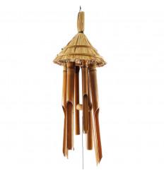 Carillon à vent en bambou et noix de coco décor chapeau de paille vue face