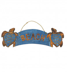 "Wooden ""Beach"" Turtle Wall Deco 50x15cm - Blue front view"