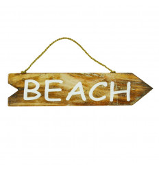"Wooden directional arrow plaque with ""Beach"" inscription front view"