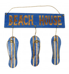 "Door plate with flip flops decor and ""Beach House"" inscription - blue color front view"