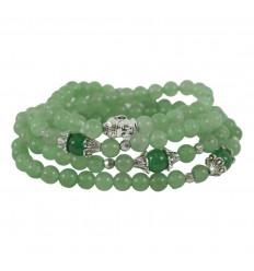 Bracelet mala tibétain 108 perles en aventurine verte et perle bouddha