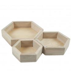 Plateaux de présentation pour bijoux - Présentoirs hexagonaux gigognes en bois brut