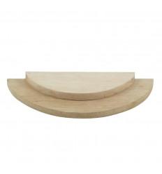 Vassoio presentazione 1/2 cerchio - Espositore gioielli 2 livelli in legno grezzo