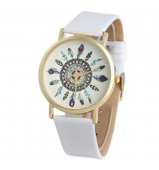Watch woman motif feathers, white strap. Free shipping !