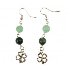 Green Aventurine and Kambamba Jasper Clover Motif Earrings
