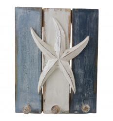 3 Hooks Starfish Decor Wooden Hook 30x23cm