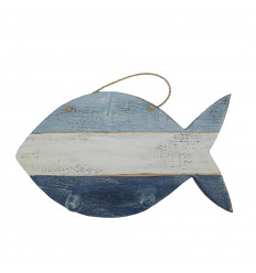Wooden hook with 3 fish hooks 32x18cm