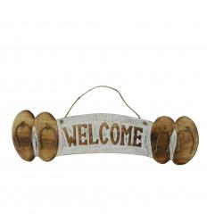 """Plaque Déco Murale Tongs """"Welcome"""" en bois 46x12cm style bord de mer"""