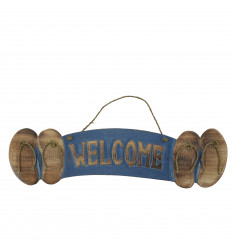 """Welcome"" wooden flip flops wall plaque 46x12cm seaside style - Blue"