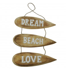 """Dream Beach Love"" Surfboards Hanging Wall Decor 51x31cm - White"
