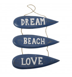 """Dream Beach Love"" Surfboards Hanging Wall Decor 51x31cm - Blue"
