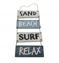 """Décoration Murale à Suspendre Style Bord de Mer """"Sand, Beach, Surf, Relax"""" 53x20cm"""