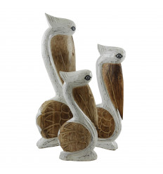 Lot of 3 White Pelicans and Bleached Wood - Marine decoration
