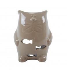 Bruciatore di profumo per gatti in ceramica fatto a mano - beige
