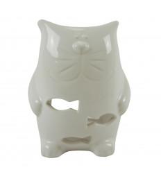 Brûle Parfum Chat en Céramique Artisanale - Blanc