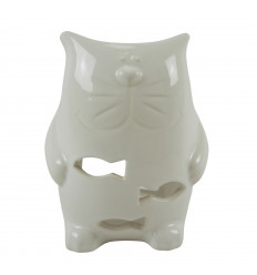Handmade Ceramic Cat Perfume Burner - White